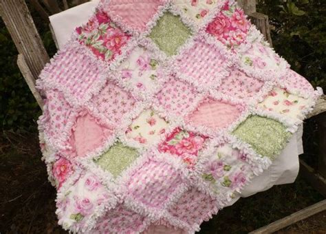 pretty baby girl rag quilt shabby pink roses soft green and minky baby girls girls and pink