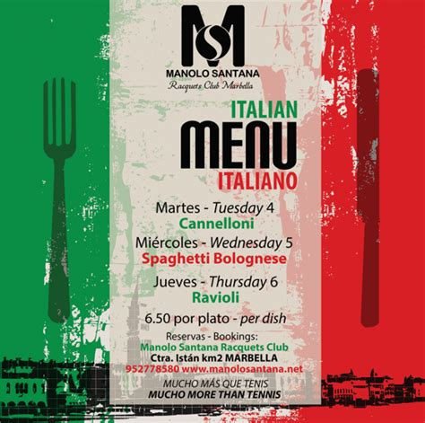 taste of italy boat club road menu italian menus manolo santana racquets club
