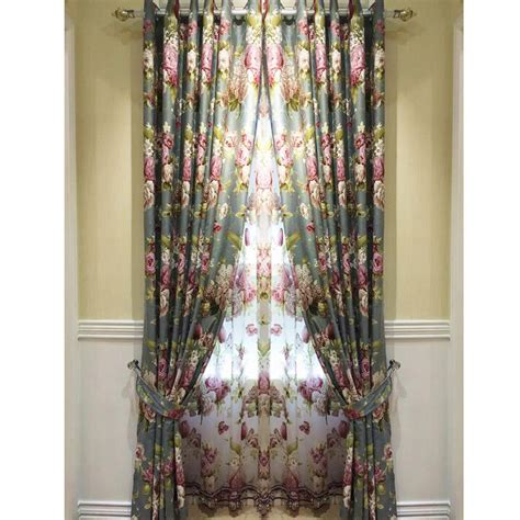 floral country curtains european retro jacquard country style blackout floral curtains