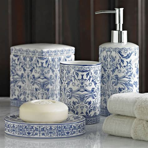 blue and white bathroom accessories kassatex orsay blue bath accessories gracious style