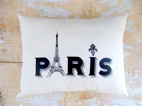 paris pillow eiffel tower french country home cottage