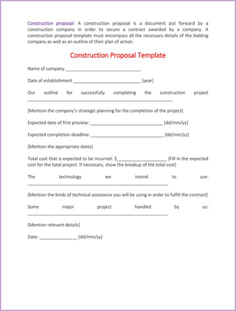 Construction Proposal Template 4 Best Sle How To Write A Bid Template