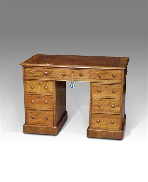 Small Pedestal Desk Satinwood Desk Small Leather Top Small Antique Desks