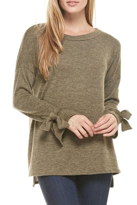 bow sweater ces femme olive bow sleeve sweater from cleveland by