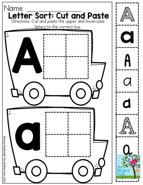 kindergarten activities cut and paste cut and paste letter recognition in different fonts