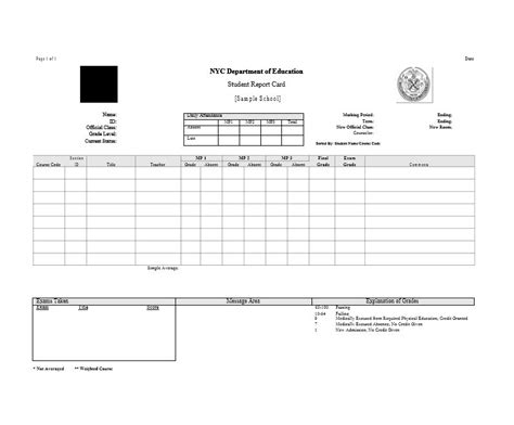 Printable Report Card Template