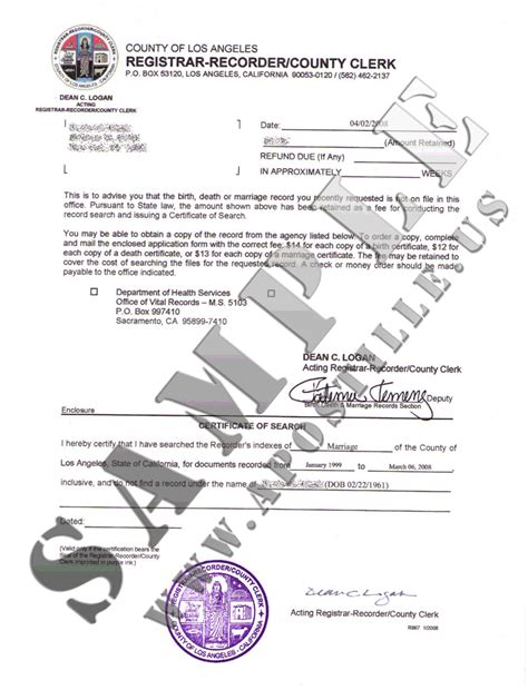 Certificate Of No Record Of Marriage Authentications Of Documents State California