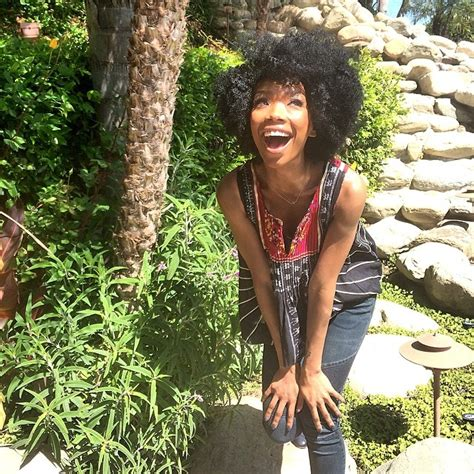 brandy loves natural hair but says as an actress she has brandy shows off her fro quot heat free quot hair