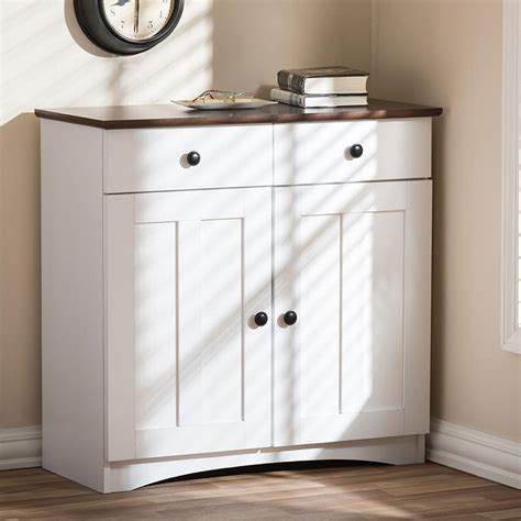 Baxton Studio Lauren Contemporary 30 42 In H X 31 2 In W White Kitchen Storage Cabinet