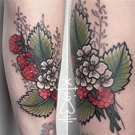 raspberry tattoo designs raspberries wrapped around antlers with crystals hanging