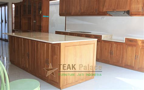 Lemari Dapur Jati Belanda kitchen set minimalis island table kayu jati top marmer
