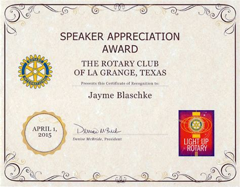 rotary certificate of appreciation template gibberish chicken ranch report rotary