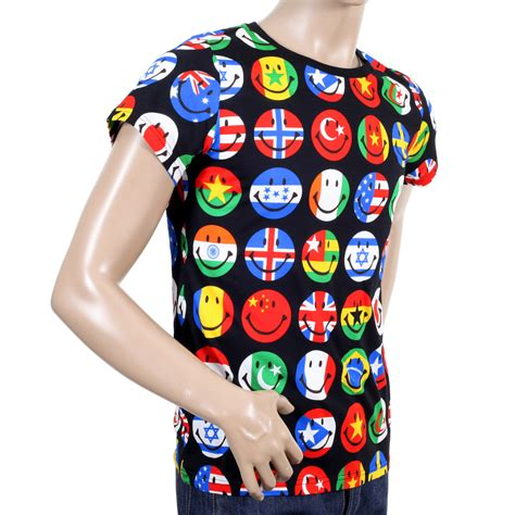 flags of the world t shirt shop moschino mens t shirt with smiley print togged
