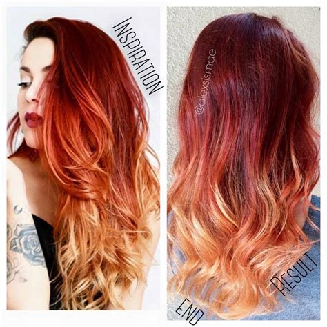 red and blonde hombre pics luanna90 inspired red fire balayage ombre hair using
