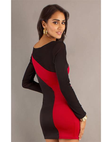 Black And White Long Sleeve Red Dress | red and black dress with sleeves oasis amor fashion