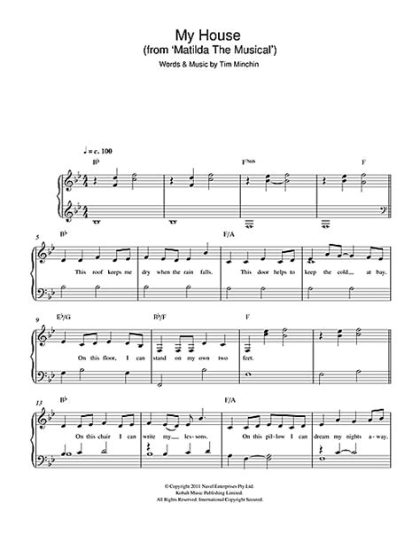 my house matilda lyrics my house from matilda the musical sheet music by tim minchin easy piano 115990