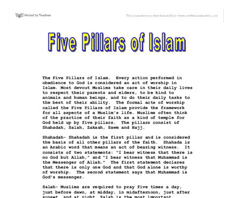 Essay About Islam by Free Essay On The Five Pillars Of Islam Essaywritingmyselfsle Web Fc2