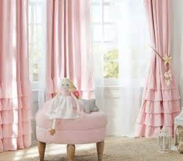 Pink And White Nursery Curtains Pink Ruffled Curtain And White Sheer Curtain For Impressive Baby Nursery Ideas With