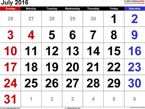 Calendar For July 2016 July 2016 Calendars For Word Excel Pdf
