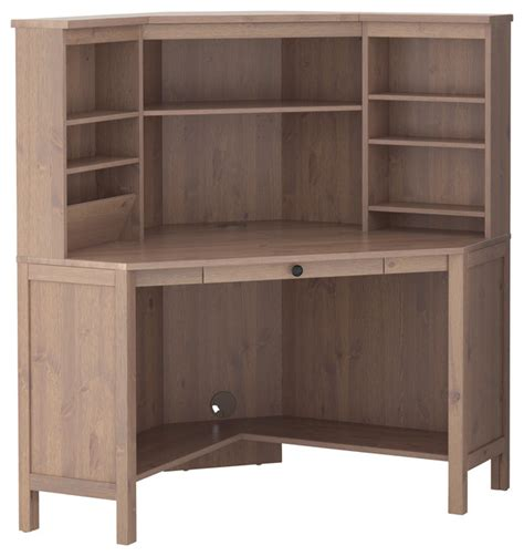Corner Work Desks Hemnes Corner Work Station Gray Brown Traditional Desks And Hutches By Ikea