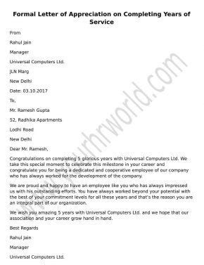 thank you letter to on completing one year write a formal appreciation letter for completing year of