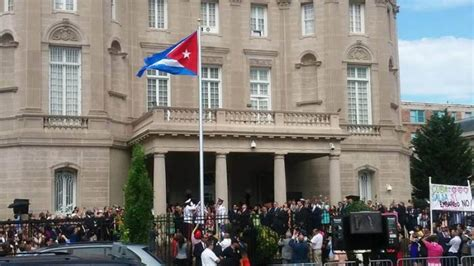 cuban interest section washington dc cuba s flag waves in u s capital world granma