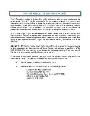 Carolina Court System Search Fillable Nccourts Pro Se Absolute Divorce Packet Carolina Court System