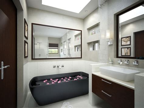 monochrome bathroom with black tub and mirrors interior