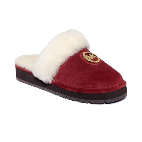 michael kors house shoes michael kors winter fur slippers in red lyst
