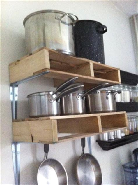 Kitchen Island With Hanging Pot Rack by 12 Diy Wooden Shelves Made From Pallets Pallet Furniture Diy