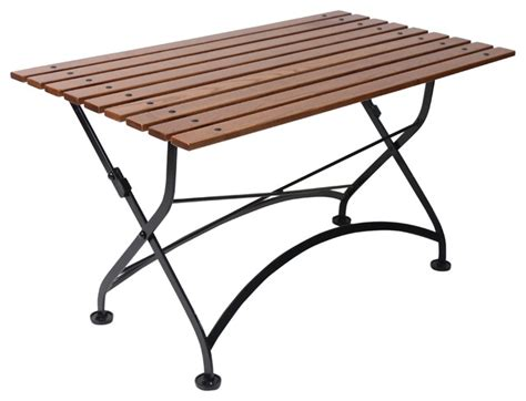 Folding Bar Table Outdoor Cafe Bistro Folding Coffee Table Black Frame Chestnut Wood Slat Top Contemporary