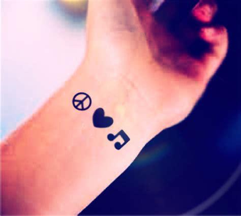 3pcs tiny peace love music small tattoo inknart by inknart