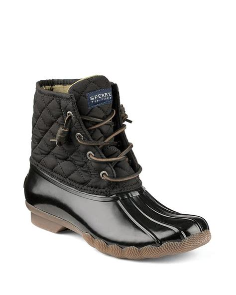 black duck boots sperry top sider saltwater quilted duck boots in black lyst