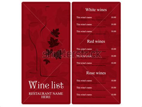 wine list template wine menu templates 31 free psd eps documents