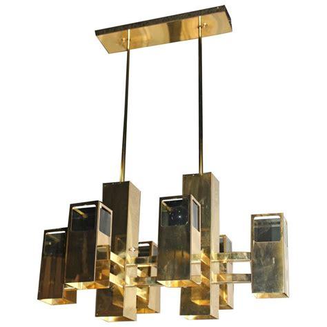 Robert Sonneman L by Robert Sonneman Vintage Brass And Smoked Lucite Cityscape Cube Chandelier At 1stdibs