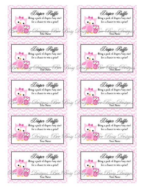 free printable diaper raffle tickets girl printable pink mom with little girl owl diaper raffle