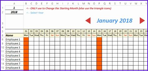 14 Excel Vacation Calendar Template Exceltemplates Exceltemplates 2018 Employee Vacation Request Calendar Calendar Template 2018