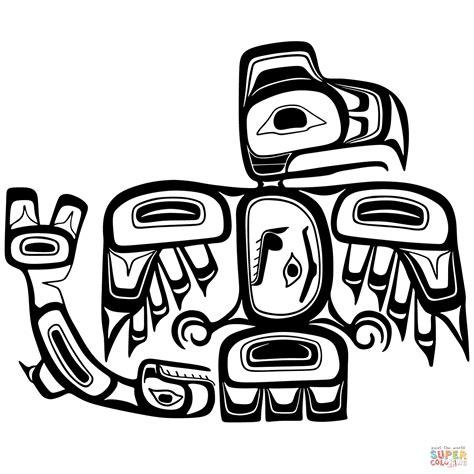 printable haida art haida art eagle and salmon coloring page free