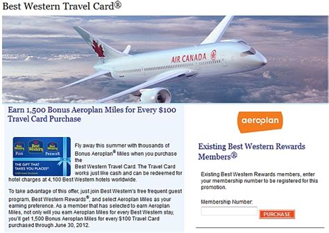 Air Miles Best Western Gift Card - air canada aeroplan miles for best western travel card purchases loyaltylobby