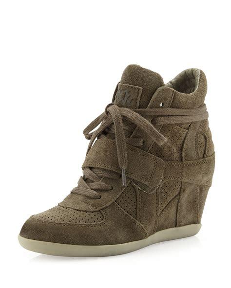 ash wedge sneaker ash bowie suede wedge sneaker in brown 6 lyst