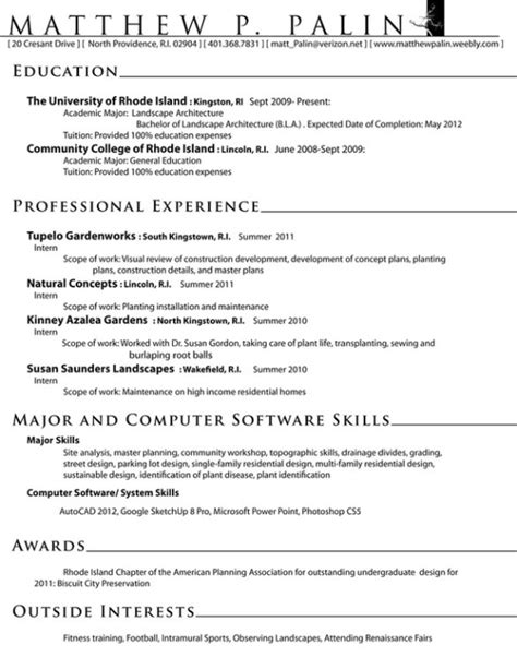 Landscape Architecture Resume Templates by Resume Template Landscape Architect Choice Image