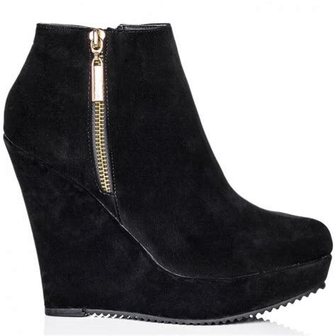 wedge heel suede style zip platform ankle boots shoes
