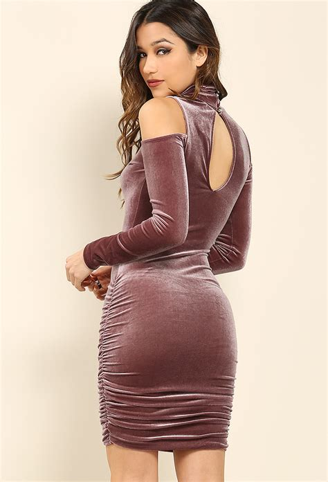 Dress Ketat Cut Shoulder velour dress w cut out shoulders shop clothing at papaya clothing