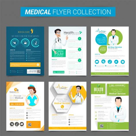 design for health set of six creative flyers or template design for health