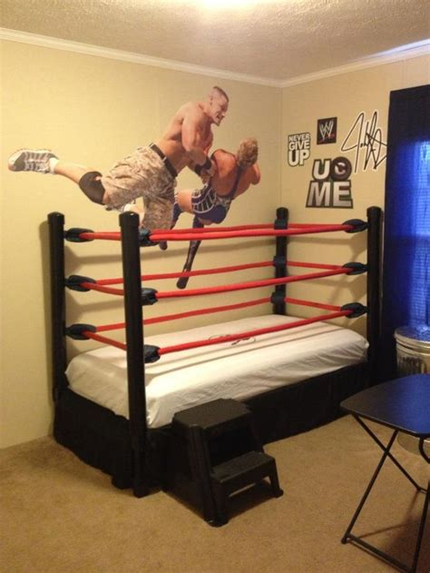 wwe bedroom decor diy wwe wrestling bed kids room kid s room pinterest