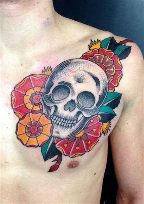 tattoo old school dotwork chest old school skull tattoo by adrenaline vancity