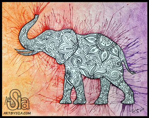 pattern elephant art watercolor zentangle elephant original painting drawing