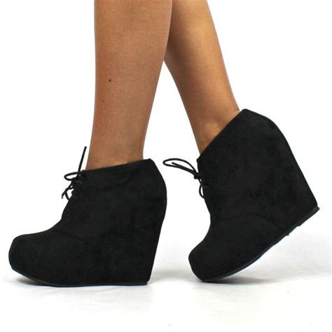 Dress Wedges Flow Gold quot quot suede lace up wedge booties black fashion