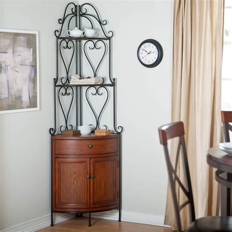 accent tables for dining room furniture cast iron corner bakers rack with wooden storage cabinet for dining room