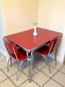 Retro Kitchen Furniture by 1950 S Chrome Retro Red Kitchen Table With 2 Red By